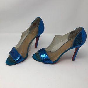 Christian Louboutin blue sequin sandals heels pump